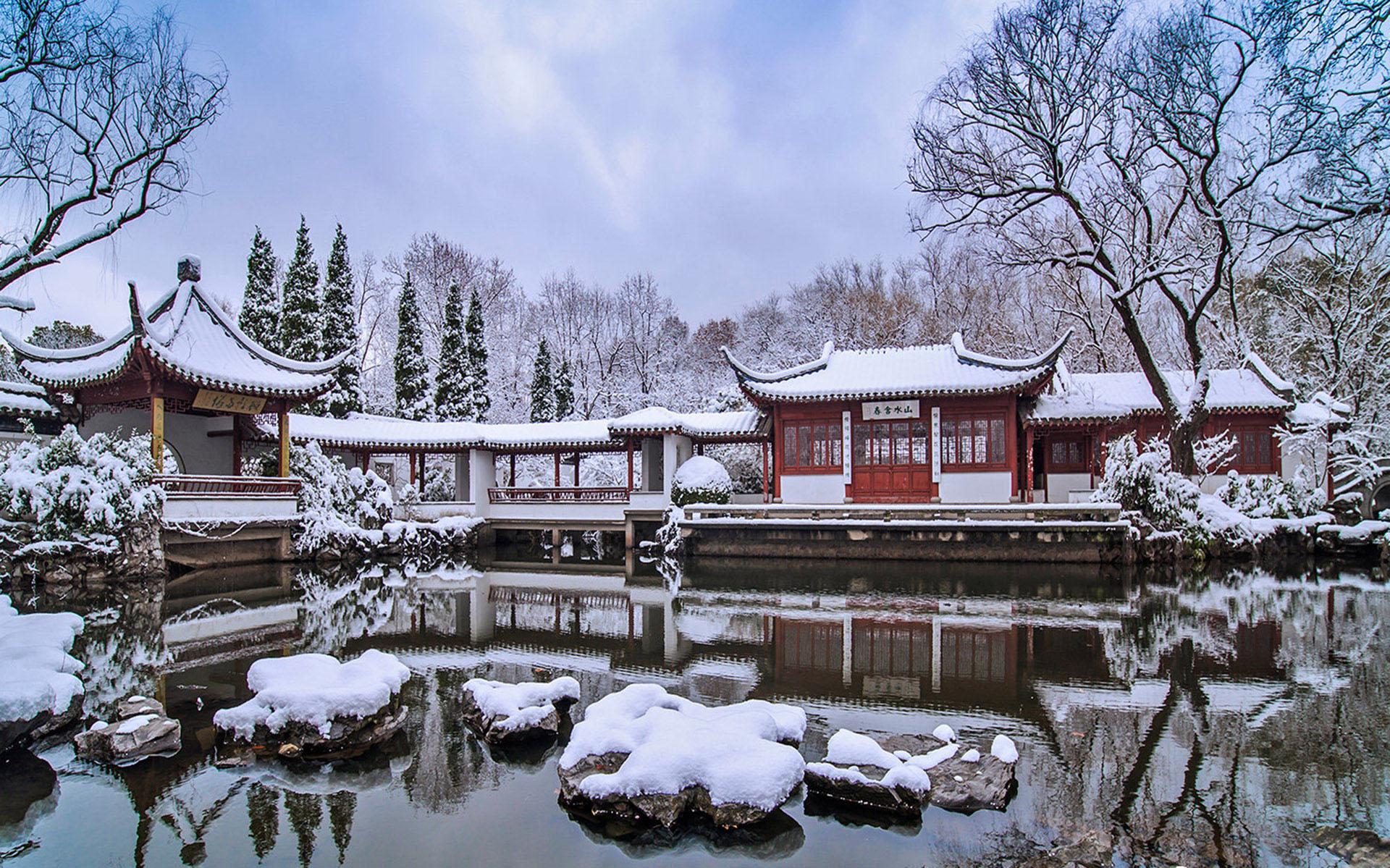 南京园林雪景—风景图片—美图美秀
